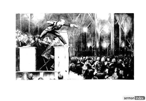 Illustration of Billy Sunday Preaching