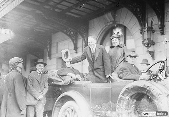 Billy Sunday Bowing from Automobile